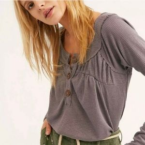 Free People Must Have Henley Waffle Knit Gray